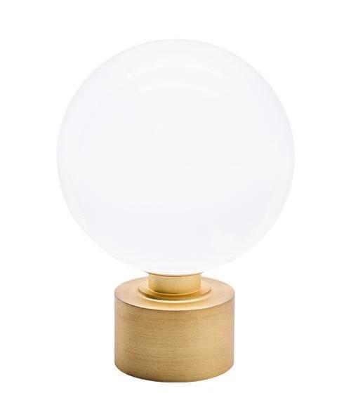 Brushed brass glass ball drapery rod finial