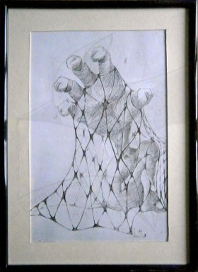 Мрежи 2 - Ръка, офорт - графика, част от диптих Мрежи