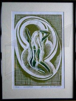 Жена - графика на линолеум в зелено