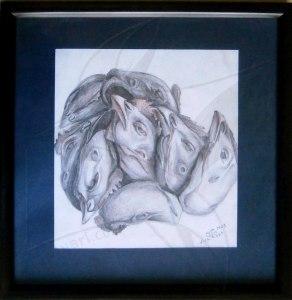 Кокоши глави - рисунка с молив