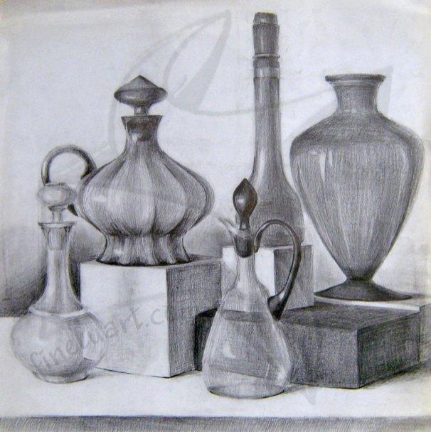 Етюд със стъклени предмети, черен молив