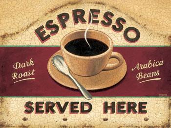 Espresso Served Here Vintage Metal Sign