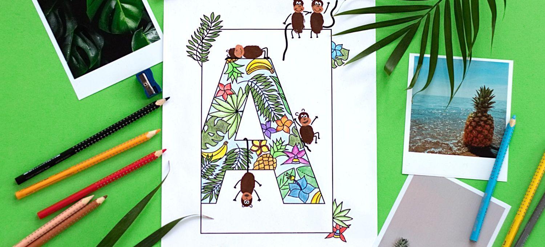 Spielerisch Alphabet Lernen Mit Kindern Mit Fingerstempel Ausmalbildern