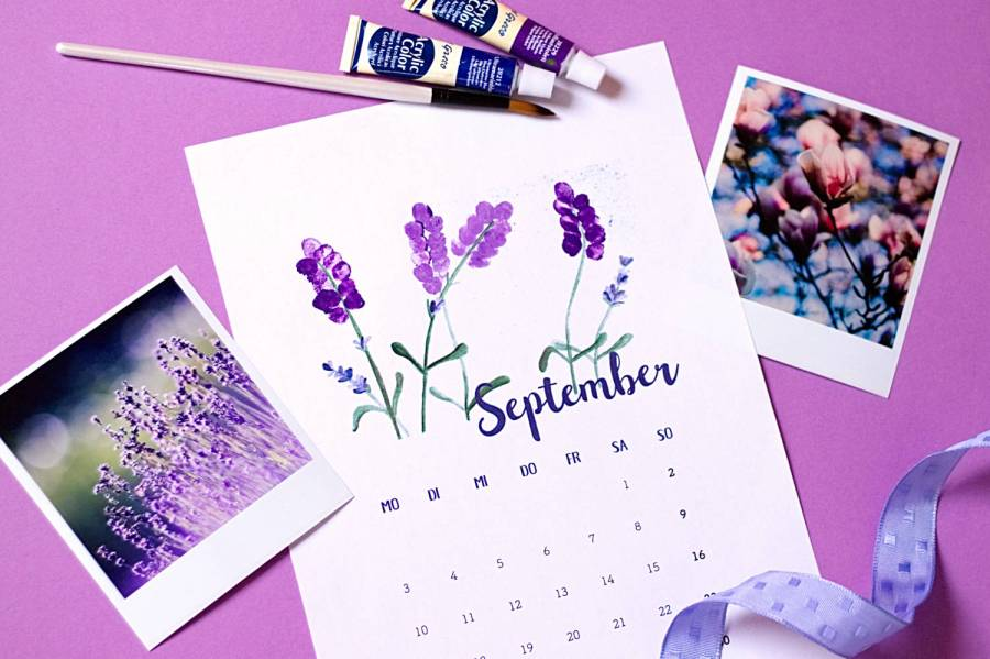 September - Kalender 2018 zum Fingerstempeln
