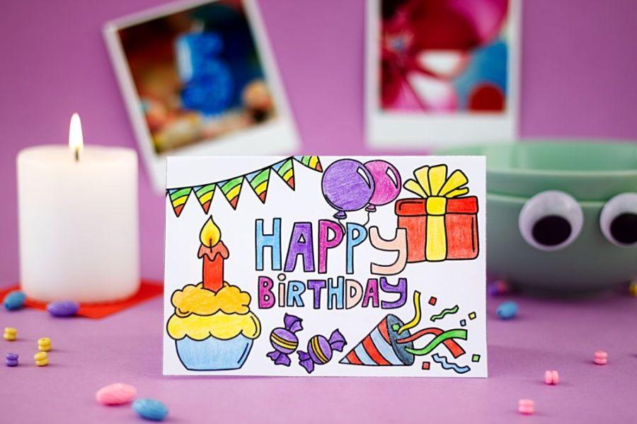 Geburtstagskarte zum Ausmalen Querformat