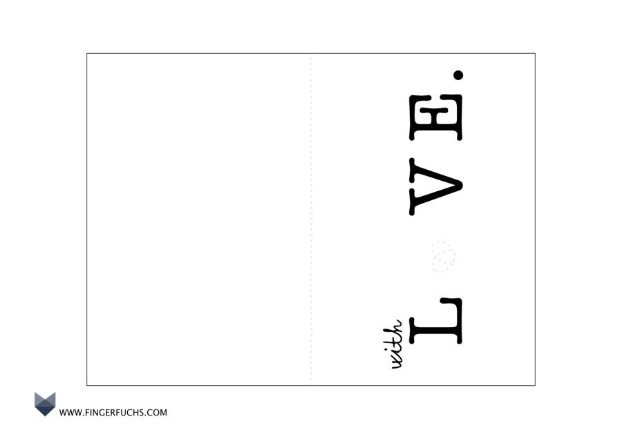 Bastelvorlagen für Karten Grusskarte with Love Vorlage