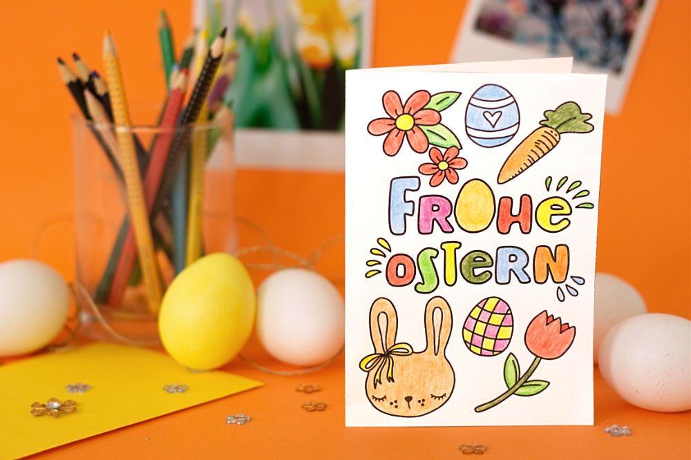 Karte Für Ostern Zum Ausmalen Basteln Mit Kindern An Ostern