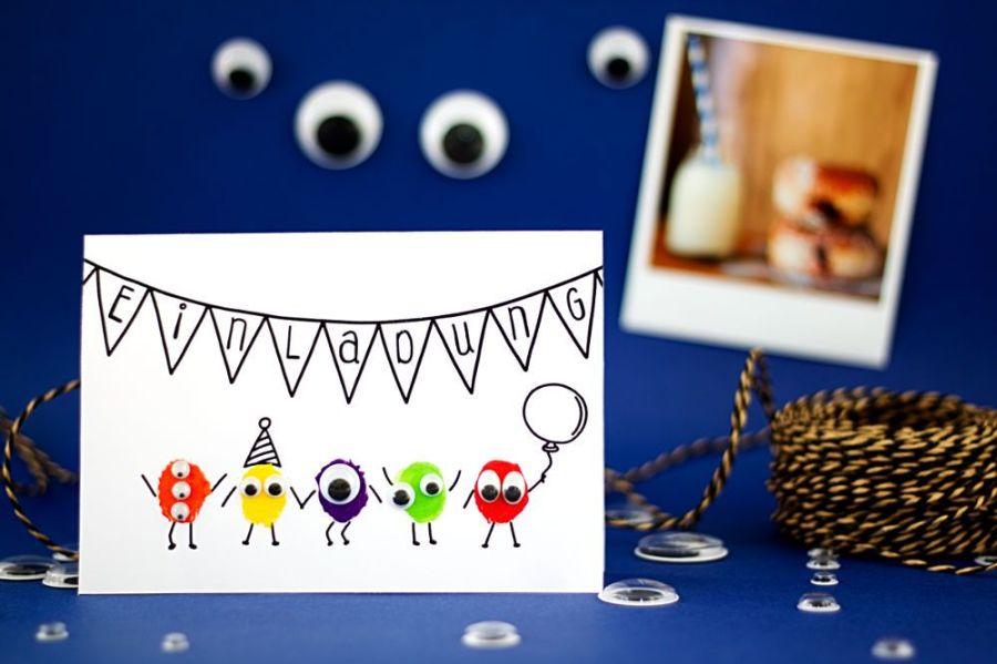 Monster Einladungskarte für Kindergeburtstag selber basteln Querformat