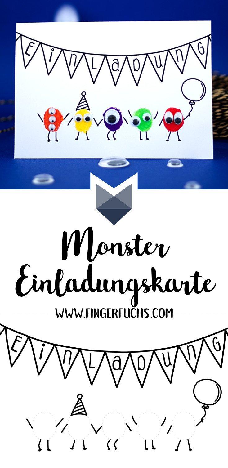 Pinterest Einladungskarte für Kindergeburtstag selber basteln Monster