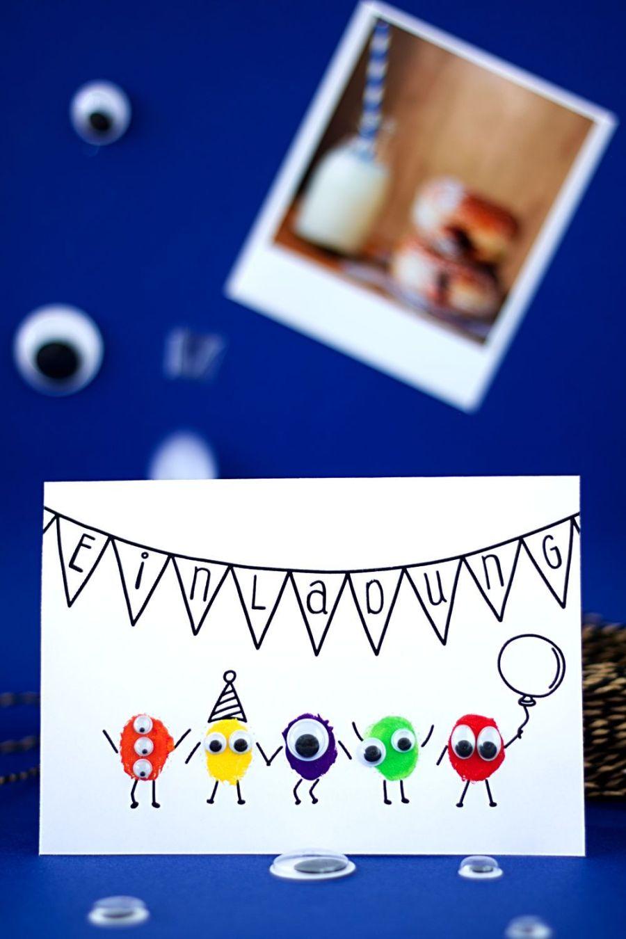 Monster Einladungskarte für Kindergeburtstag selber basteln Hochformat