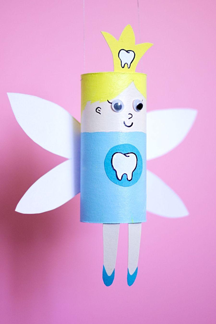Zahnfee aus Klopapierrollen basteln Hochformat
