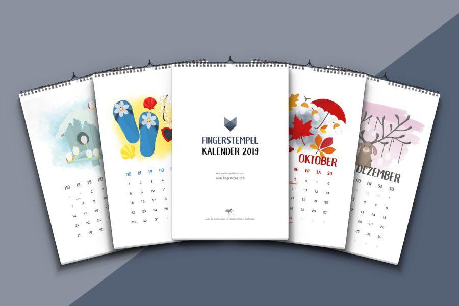 Kalender basteln mit Kindern - Fingerstempel Kalender 2019