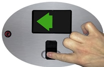 in out access control on turnstile with biometric fingerprint reader