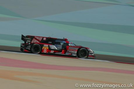 Audi Sport Team Joest Audi R18 e-tron quattro #8 driven by Lucas di Grassi / Loic Duval / Oliver Jarvis during free practice 1 for the FIA WEC 6 Hours of Bahrain from Bahrain International Circuit, Umm Jidar, Sakhir, Kingdom of Bahrain