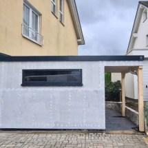 Fink Garage - Minigarage mit Überdachung - Rückansicht mit Fenster unverputzt