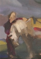 """Horse and Groom, oil on paper, 7""""x5"""""""