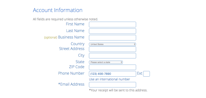 how to start a blog fill out account information