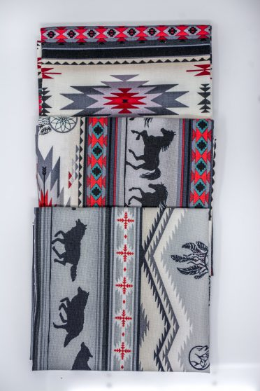 elizabeth studios grey horse bison and native american design