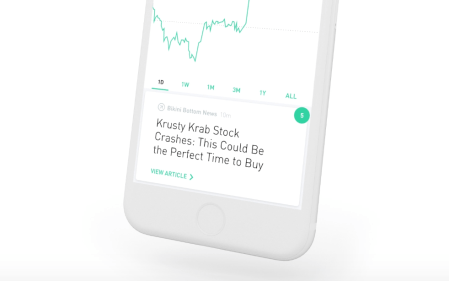 Screenshot of digital trading app Robinhood on a smartphone.