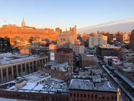 New York skyline as seen from the Whitney Museum of American Art at sunset in January.