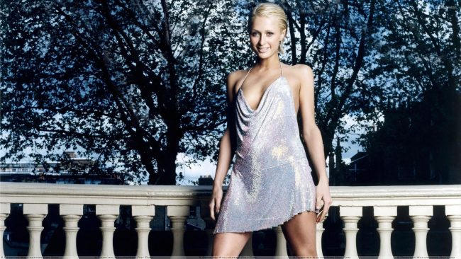 Paris Hilton Smiling In Silver Shine Dress