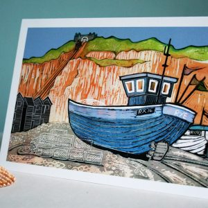 image of lovely card of fishing boat at Hastings done in linocut