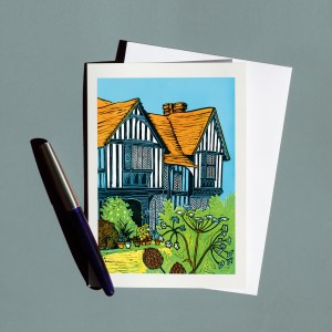 Greetings card from a linocut of of Great Dixter