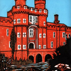 Colour linocut of Herstmonceux Castle by Fiona Horan