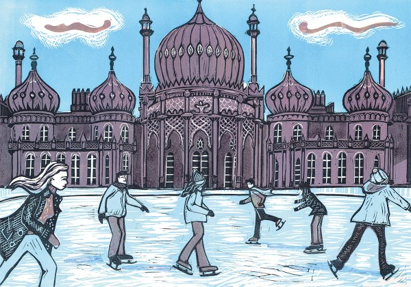 Image from linocut print of skaters on the ice rink in front of Brighton Royal Pavilion
