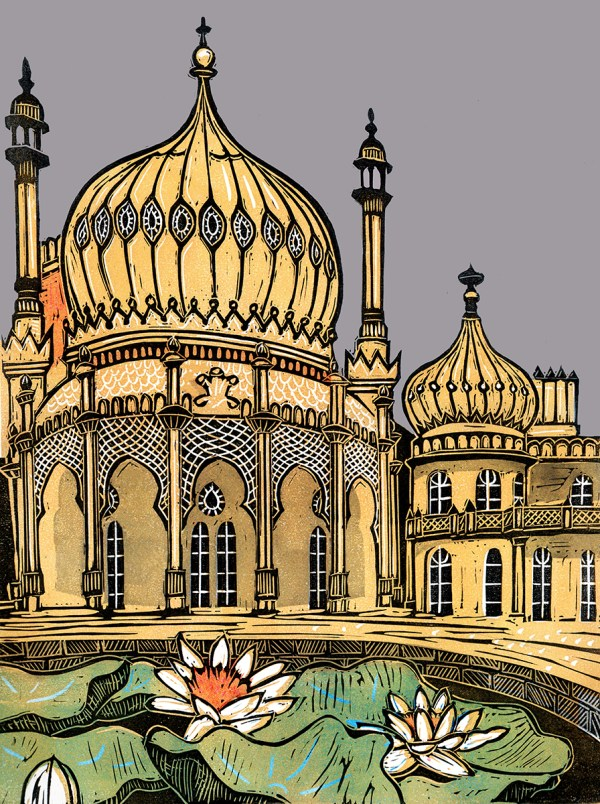 linocut of Brighton Pavilion with lily pond in foreground