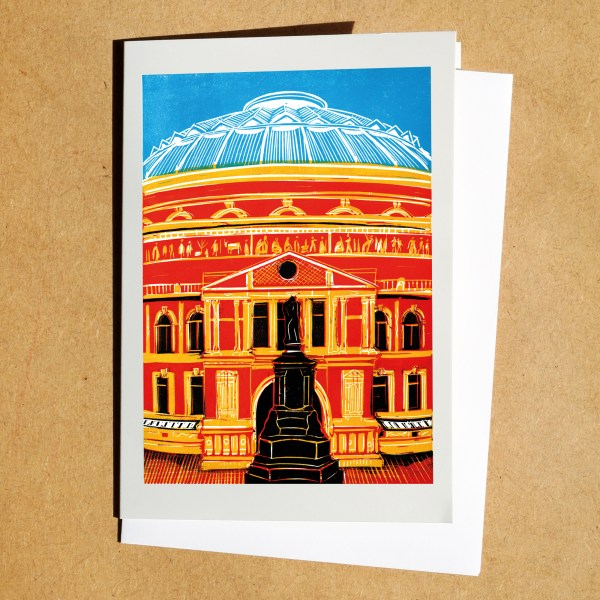 Greetings card of a linocut of the Royal Albert Hall, London
