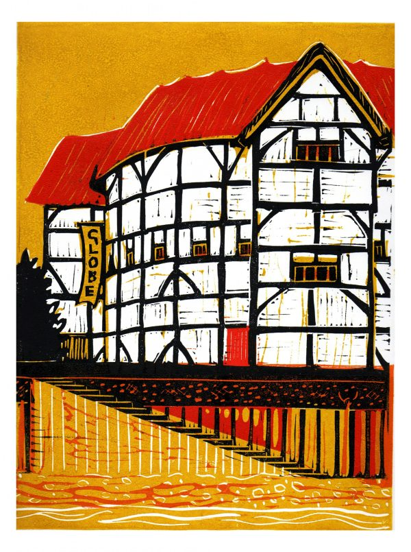 Shakespeare's Globe Theatre in London greetings card from original linocut print by Fiona Horan