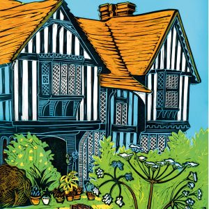 Great Dixter house from the front as a linocut