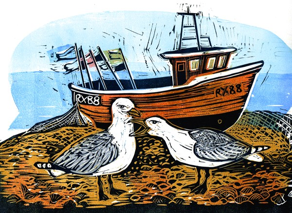 two seagulls in front of a fishing boat at Hastings