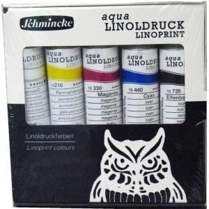 Starter set of Schmincke relief printing inks.