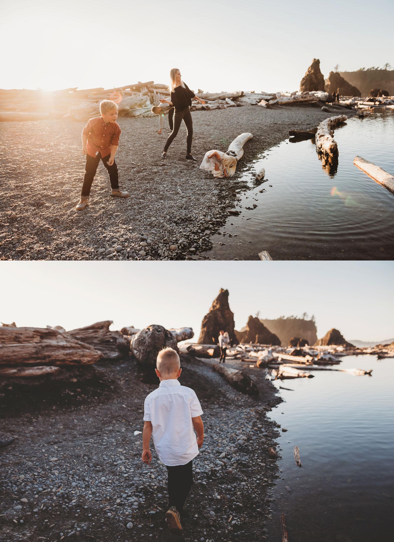 boys throwing rocks at ruby beach wa