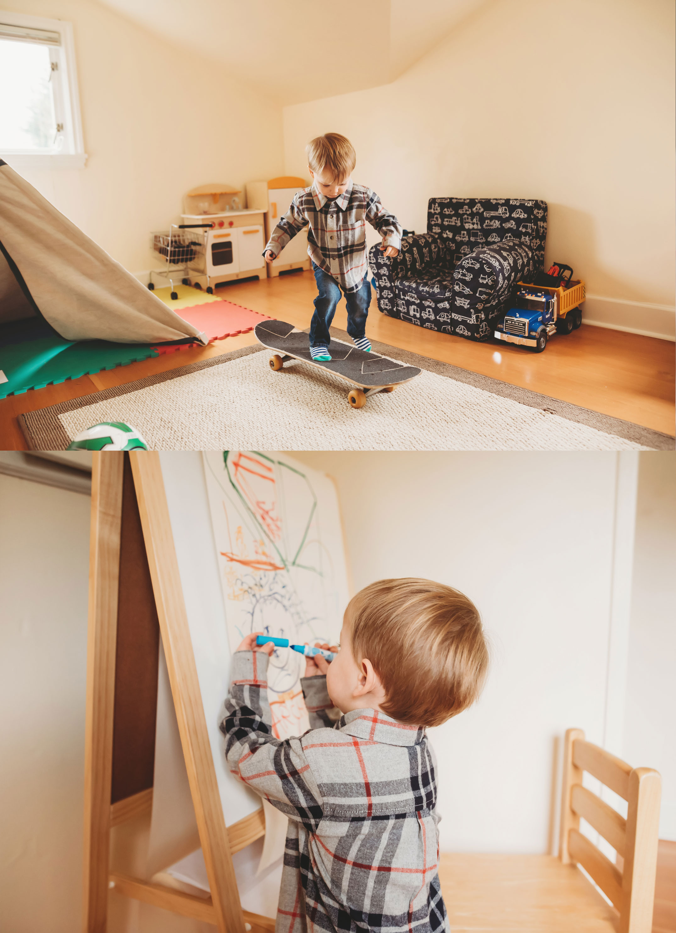 little boy playing in his playroom
