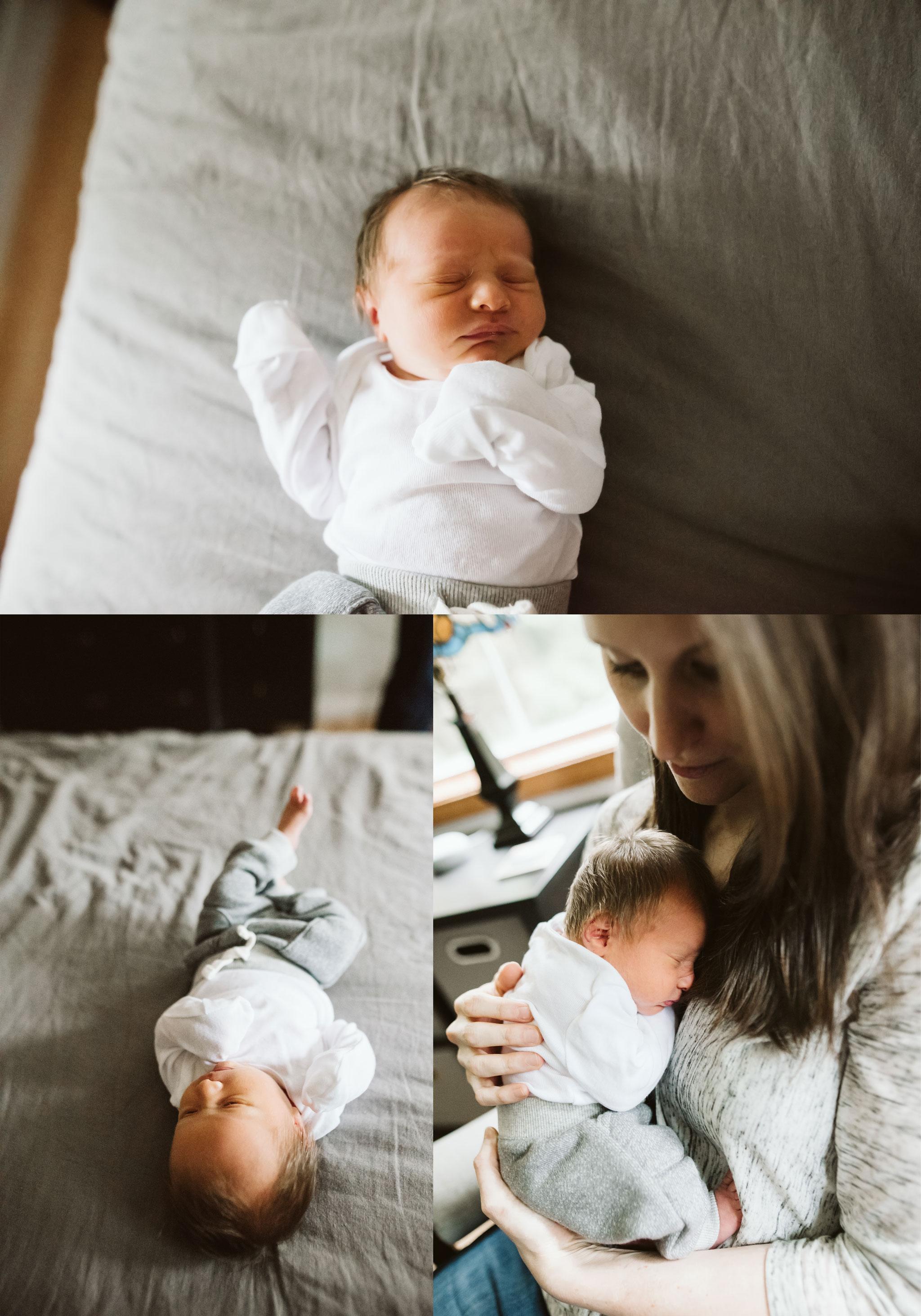 newborn baby boy snuggles mom