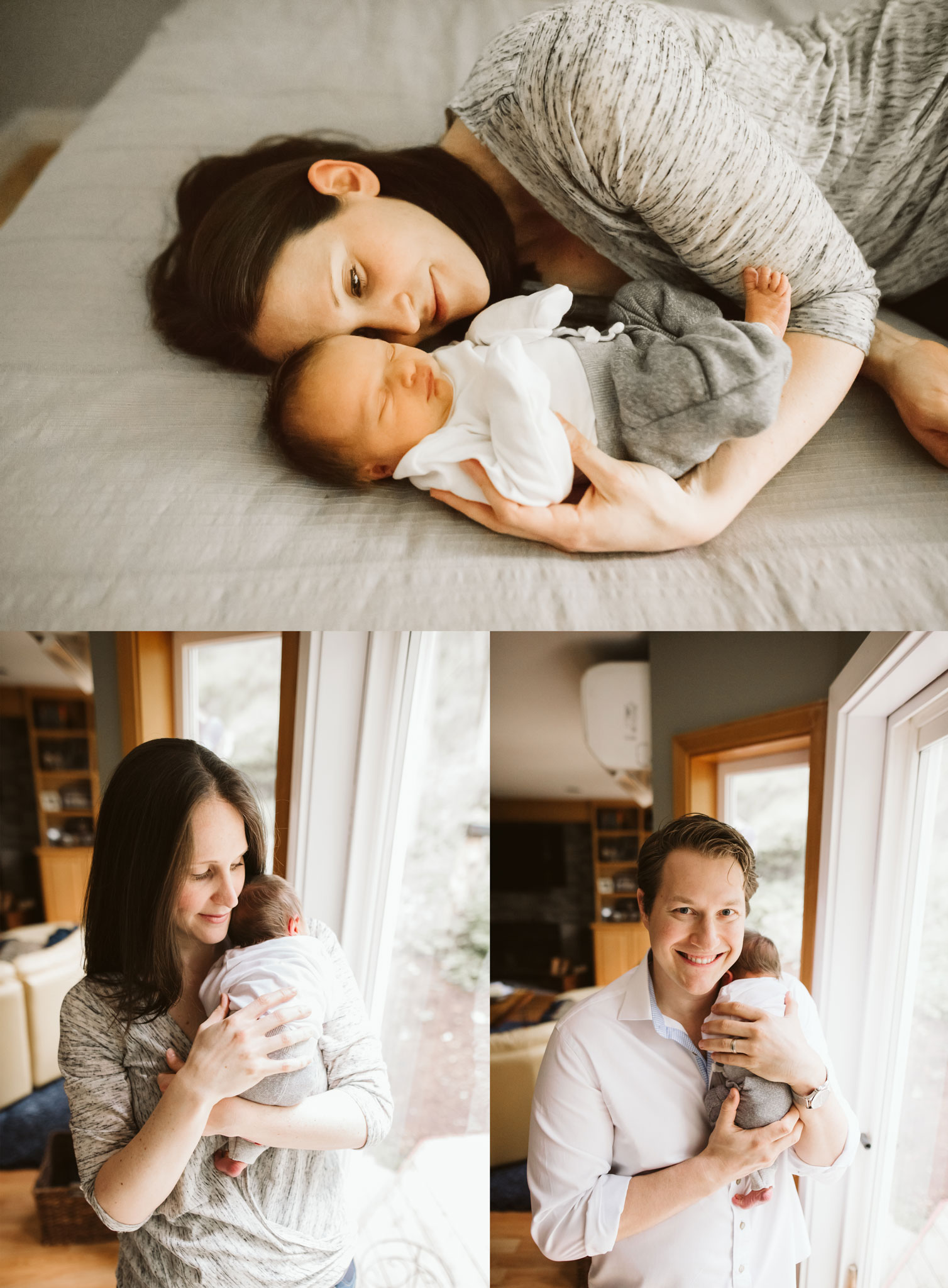 mom and dad with newborn baby during lifestyle newborn session