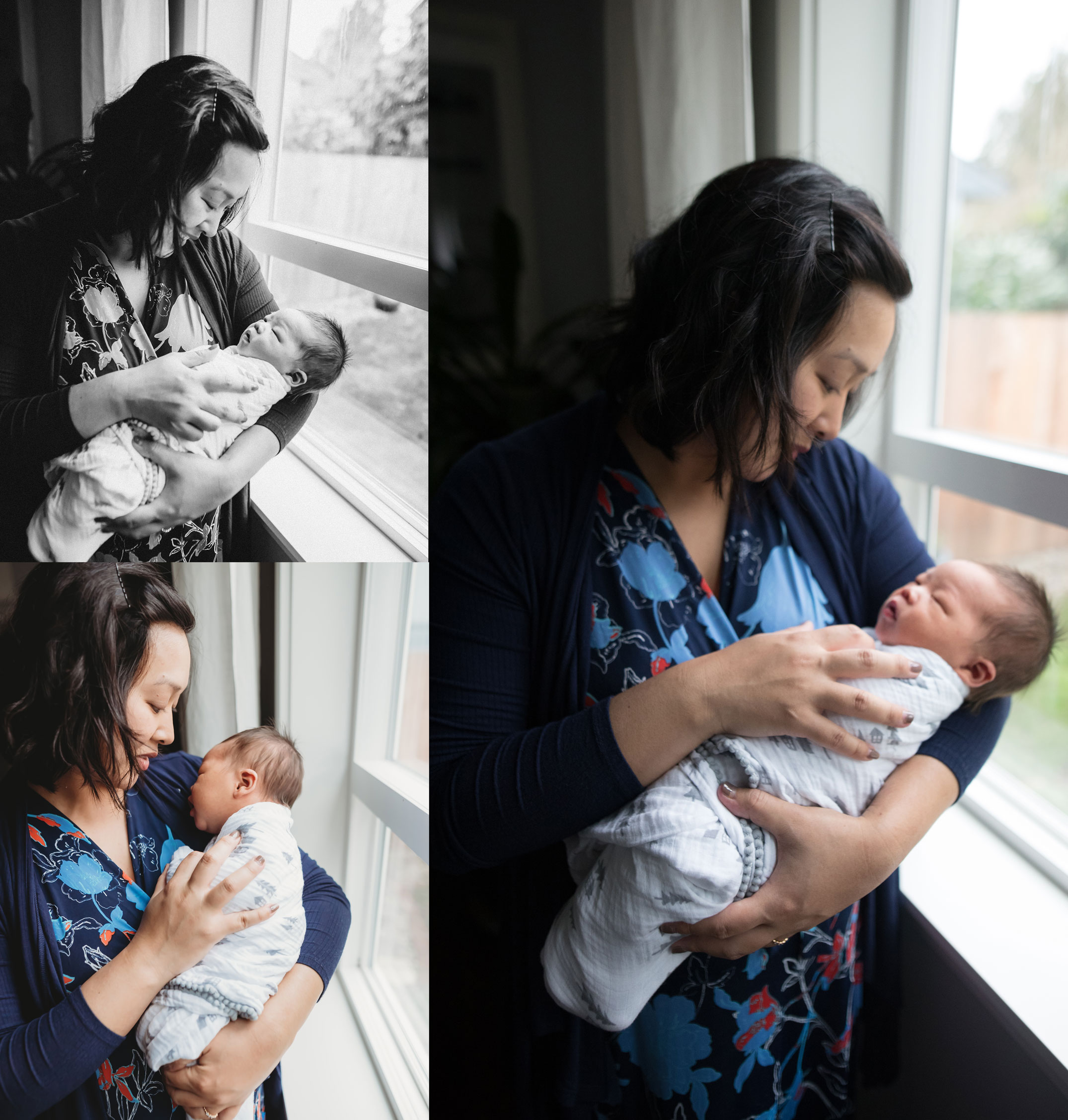 snuggling baby boy near the window at seattle newborn session