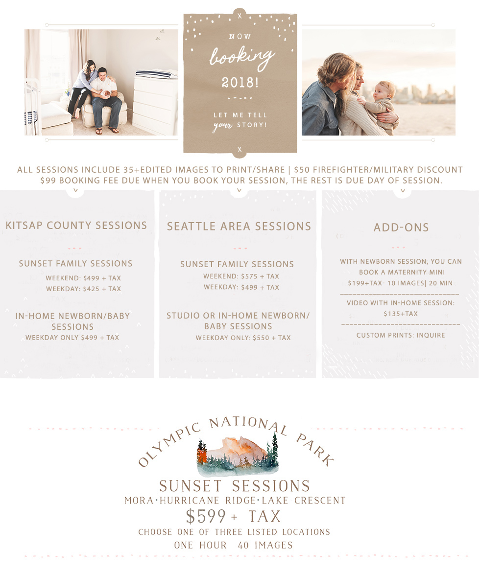 seattle family & newborn photographer session pricing