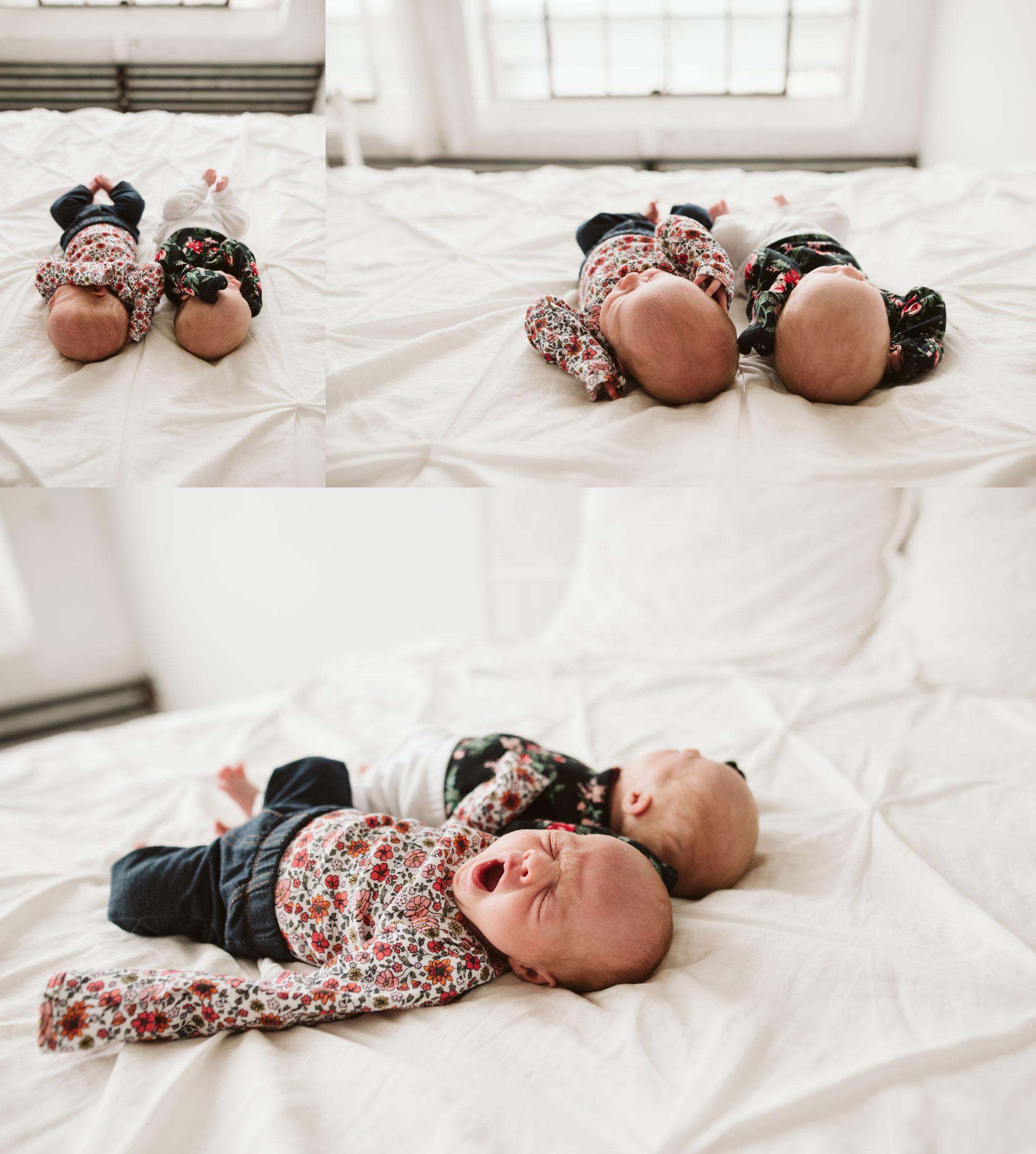 big yawns from newborn baby girls in seattle studio