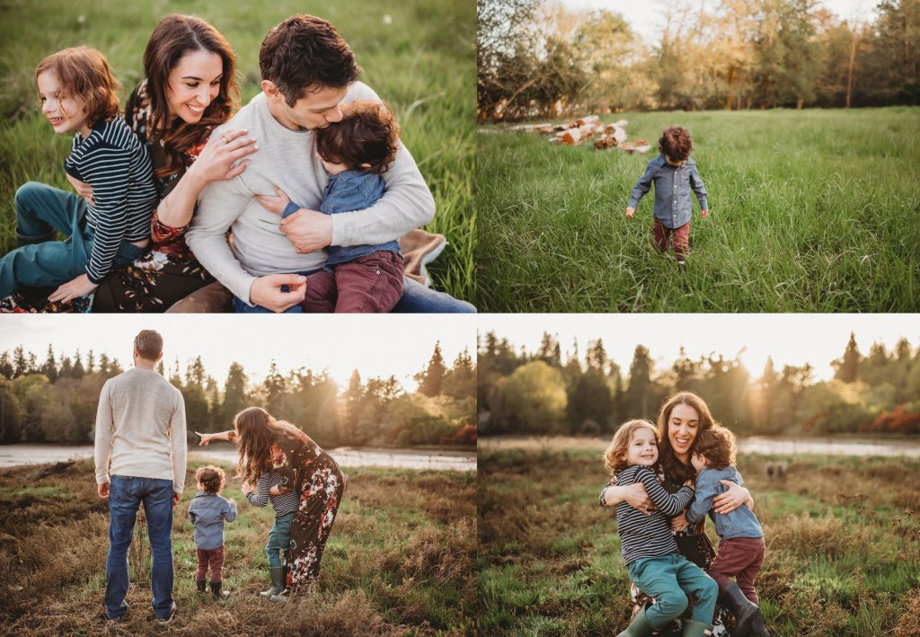 snuggly family in a field on Bainbridge Island
