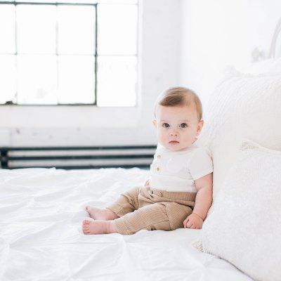Handsome 6-month-old baby in the Seattle Studio!