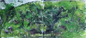 trees, rain, wind; Shropshire hills, 2015; watercolour &  inks