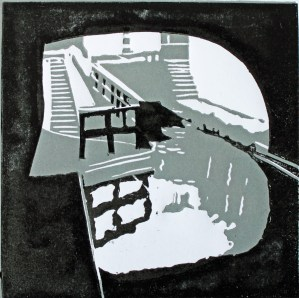 Farmer's Bridge Locks, 2014, 11cm x 11cm, relief print