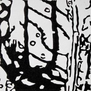 reflections1, 2015, 10 x 10cm; linocut