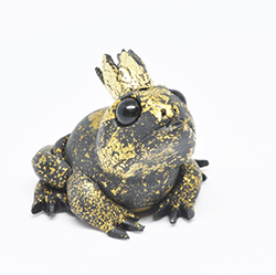 polymer clay toad with crown