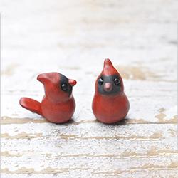 polymer clay cardinal birds