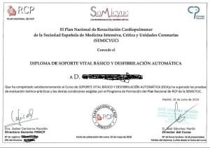 Diploma que emite el Plan Nacional de RCP, Semicyuc y Consejo Español de Resucitacion